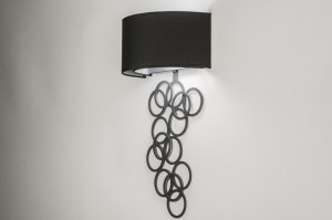 Aplique de pared 72768 Moderno Contemporaneo Clasico Tela Metal Negro Mate Hulla Oblongo
