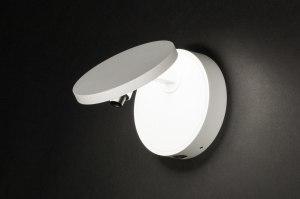 wandlamp 72777 design modern aluminium wit mat rond