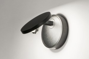 wandlamp 72778 design modern aluminium zwart mat rond