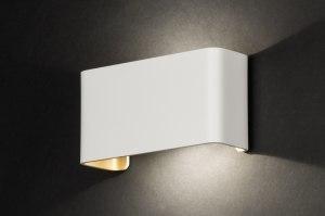 wandlamp 72789 design modern aluminium metaal wit mat goud langwerpig rechthoekig