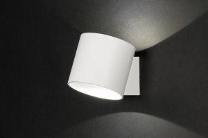 wandlamp 72792 modern design wit mat aluminium rond