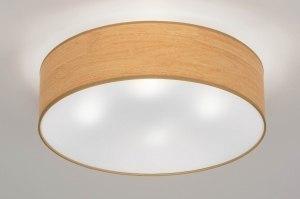 plafondlamp 72822 sale landelijk rustiek modern retro eigentijds klassiek kunststof bruin hout rond