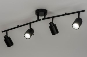 spotlight 72838 industrial look modern aluminium metal black matt oblong
