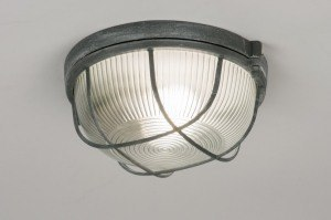 ceiling lamp 72862 industrial look rustic raw contemporary classical glass clear glass metal grey concrete gray round