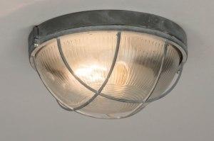plafondlamp 72863 industrie look landelijk rustiek stoer raw eigentijds klassiek glas helder glas metaal grijs betongrijs rond