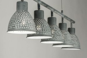 suspension 72864 moderne lampes costauds acier gris gris beton oblongue