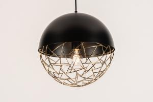 hanglamp 72867 modern retro eigentijds klassiek metaal zwart mat goud rond