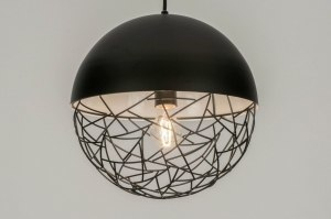 pendant light 72868 modern retro metal black matt round
