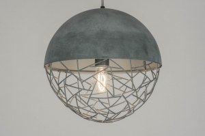 suspension 72869 moderne lampes costauds retro acier gris gris beton rond