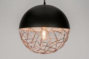 hanglamp 72872 landelijk rustiek modern retro metaal zwart mat koper roodkoper rond