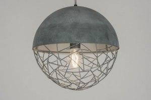 hanglamp 72874 modern stoer raw retro metaal grijs betongrijs rond