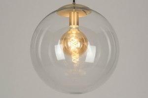 hanglamp 72875 modern eigentijds klassiek goud messing glas helder glas messing geschuurd rond