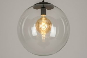pendant light 72877 modern retro glass clear glass metal black matt round