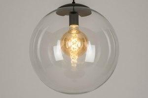 hanglamp 72877 modern retro glas helder glas metaal zwart mat rond