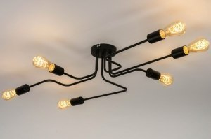 ceiling lamp 72878 industrial look modern metal black matt oblong
