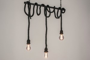 suspension 72880 look industriel rural rustique moderne lampes costauds acier noir mat oblongue