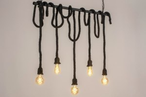 suspension 72881 look industriel rural rustique moderne lampes costauds acier noir mat oblongue