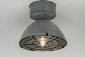 ceiling lamp 72886 industrial look rustic modern raw metal grey concrete gray round
