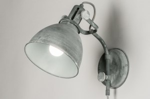 wall lamp 72888 industrial look rustic modern raw metal grey concrete gray