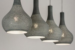 pendant light 72891 modern metal concrete gray oblong