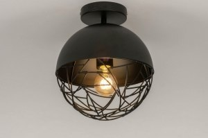 ceiling lamp 72892 modern retro contemporary classical metal black matt round