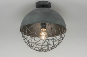 ceiling lamp 72893 modern raw metal grey concrete gray round