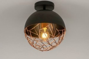 plafondlamp 72894 modern eigentijds klassiek retro koper zwart mat metaal rond