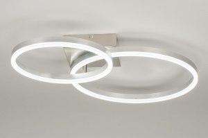 plafondlamp 72900 modern staal rvs aluminium metaal aluminium staalgrijs rond vierkant