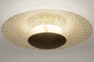 plafondlamp 72904 klassiek eigentijds klassiek brons roest bruin goud metaal rond