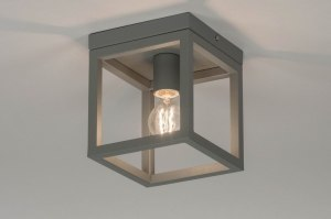 ceiling lamp 72914 modern metal grey concrete gray square