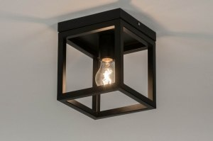 ceiling lamp 72915 modern metal black matt square