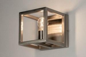 wandlamp 72916 modern staalgrijs metaal staal rvs vierkant