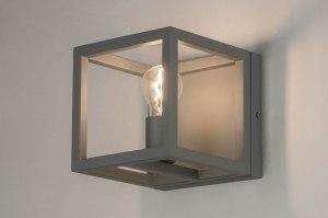 wandlamp 72917 modern metaal grijs betongrijs vierkant