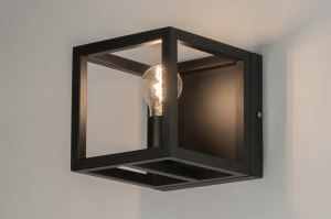 wall lamp 72918 industrial look modern metal black matt square