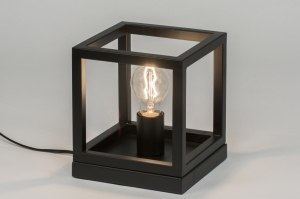 table lamp 72921 modern metal black matt square