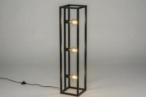 vloerlamp 72922 sale industrie look modern stoer raw metaal zwart mat rechthoekig