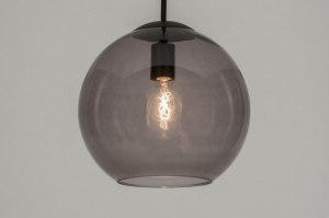 pendant light 72940 modern retro glass black matt grey round