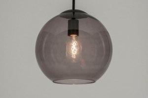 hanglamp 72940 modern retro glas zwart mat grijs rond