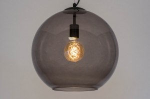 pendant light 72944 modern retro glass black matt grey round