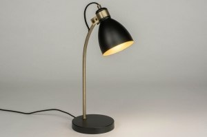 table lamp 72959 industrial look modern contemporary classical metal black matt gold round
