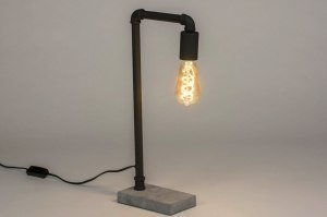 table lamp 72963 industrial look modern raw concrete metal black matt