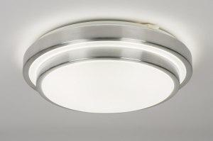 plafondlamp 72965 modern aluminium kunststof wit aluminium rond