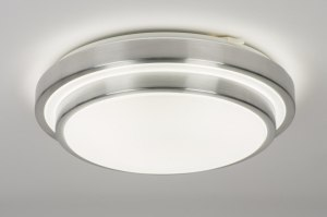 plafondlamp 72966 modern aluminium kunststof wit aluminium rond