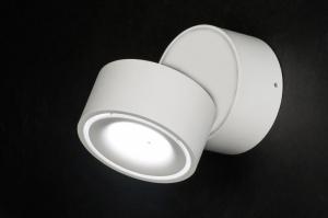 plafondlamp 72970 modern design wit mat aluminium langwerpig rond