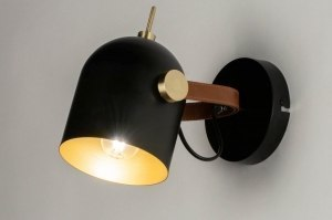 Aplique de pared 72978 Aspecto industrial Moderno Contemporaneo Clasico Metal Negro Mate Oro Redonda