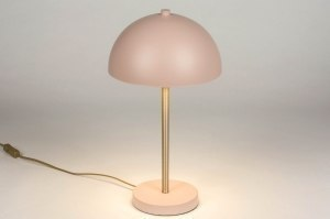 table lamp 72982 modern retro contemporary classical metal pink rust heart wood matt brass round