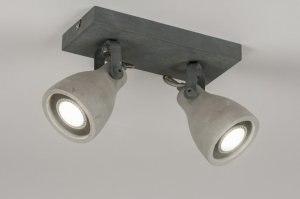 plafondlamp 72984 landelijk rustiek modern stoer raw beton betongrijs rond vierkant