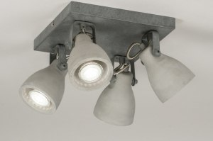 plafonnier 72986 look industriel rural rustique moderne lampes costauds beton gris beton carre