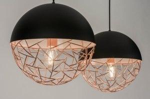 hanglamp 72993 landelijk rustiek modern retro metaal zwart mat koper roodkoper rond
