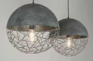 suspension 72996 moderne lampes costauds retro acier gris gris beton rond